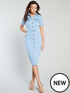 michelle-keegan-short-sleeve-denim-pencil-dress