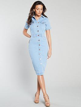 Michelle Keegan Michelle Keegan Short Sleeve Denim Pencil Dress Picture