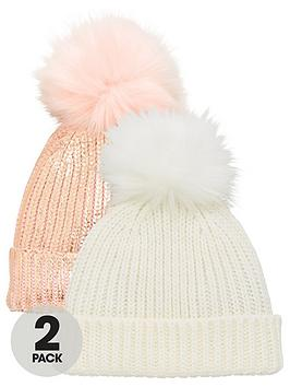 V by Very  V By Very 2 Pack Bobble Hats - Pink/Cream