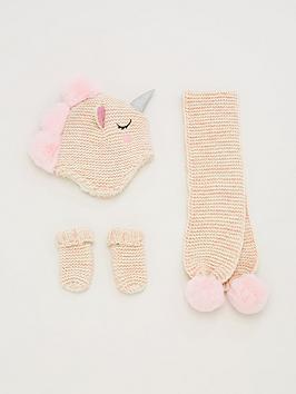 V by Very  V By Very 3 Piece Unicorn Hat, Scarf &Amp; Gloves Set - Soft Pink