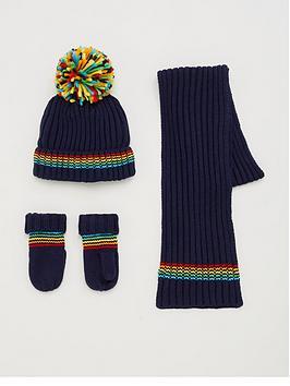 V by Very  V By Very 3 Piece Stripe Hat, Scarf And Glove Set - Navy