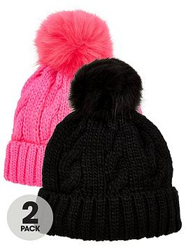 V by Very  V By Very 2 Pack Bobble Hats - Black/Pink