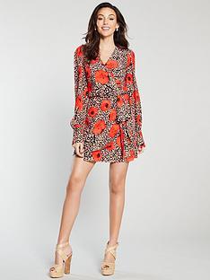 michelle-keegan-wrap-printed-mini-dress-red-print