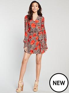 michelle-keegan-wrap-printed-mini-dress