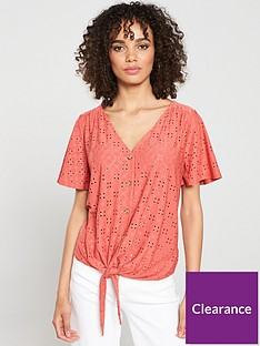 oasis-broderie-tie-front-button-thru-top-coral