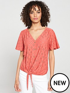 01f10a38a66b Oasis Broderie Tie Front Button Thru Top - Coral