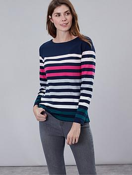 joules-harbour-stripe-top-navy-pink