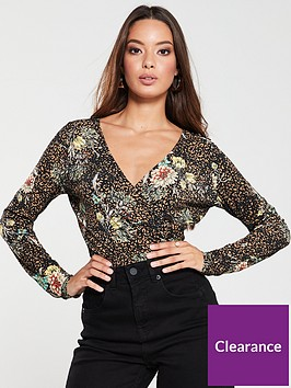 v-by-very-floral-print-wrap-top-brown