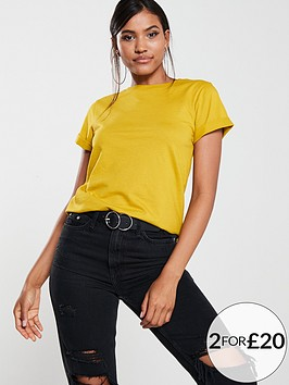 v-by-very-the-essential-turn-back-cuff-t-shirt-lime