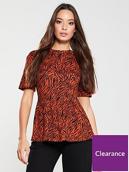 v-by-very-tiger-print-peplum-top-orange