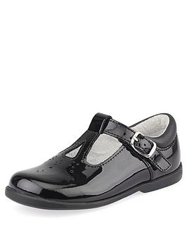 Start-Rite Start-Rite Girls Swirl T-Bar School Shoes - Black Patent Picture
