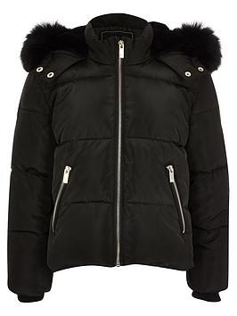 River Island River Island Girls Faux Fur Hooded Padded Coat - Black Picture
