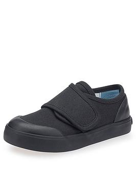 Start-Rite Boys Skip Strap School Plimsolls - Black Canvas