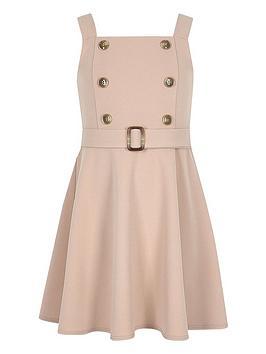 river-island-girls-double-button-skater-dress-beige
