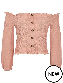 river-island-girls-shirred-bardot-top-pink