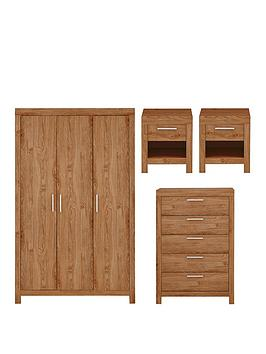 Very Cuba 4 Piece Package - 3 Door Wardrobe, 5 Drawer Chest And 2 Bedside  ... Picture