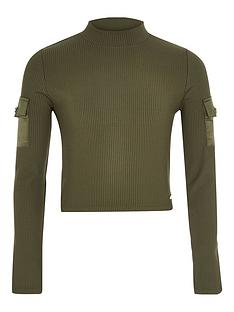 river-island-girls-ribbed-high-neck-utility-top-khaki