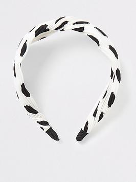 river-island-river-island-plisse-polka-dot-headband-white