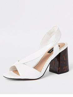 a4ce5ab7155c6 River Island River Island Wide Fit Cross Strap Block Heel Sandals - White