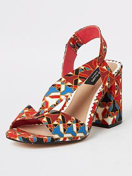 river-island-river-island-wide-fit-printed-cross-strap-block-heel-sandals-red