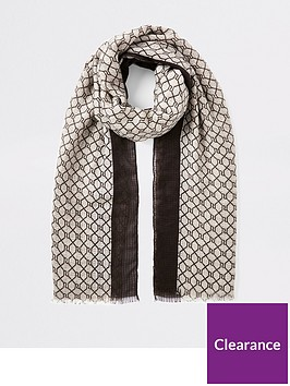 river-island-monogram-scarf-brown