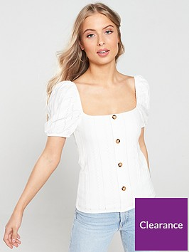 river-island-river-island-puff-sleeve-button-top-white
