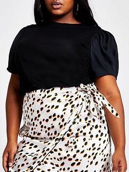 ri-plus-woven-sleeve-t-shirt-black