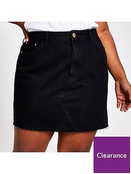 ri-plus-denim-mini-skirt--black