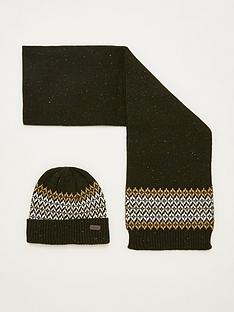 barbour-brackley-beanie-amp-scarf-gift-set-greenstone