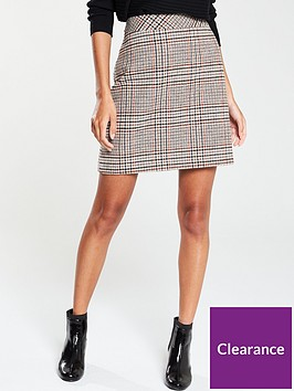 warehouse-mia-check-pelmet-skirt-brown