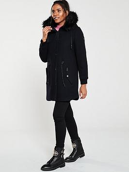 Superdry Superdry Wool Longline Parka -  Black Picture