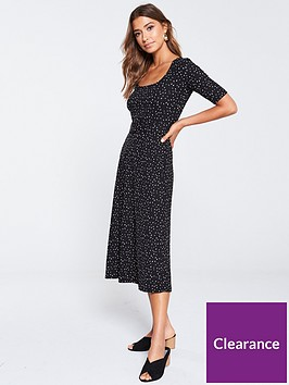 warehouse-spot-print-ribbed-dress-black