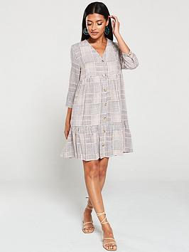 warehouse-warehouse-sable-check-tiered-button-front-mini-dress