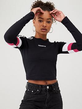 adidas Originals Adidas Originals T For Tech Cropped Long Sleeve - Black Picture