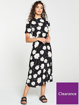 warehouse-mia-floral-dress-black