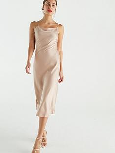 warehouse-satin-cami-dress-almond
