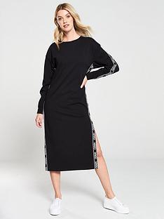 hugo-logo-tape-sweat-dress-black