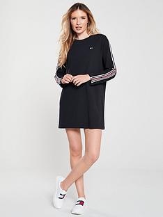 tommy-jeans-tape-detail-long-sleeve-dress-black