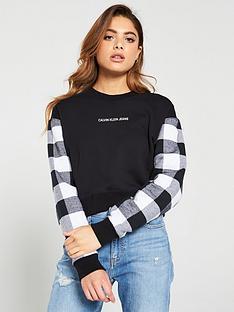 calvin-klein-jeans-buffalo-check-sleeve-cop-sweater-black