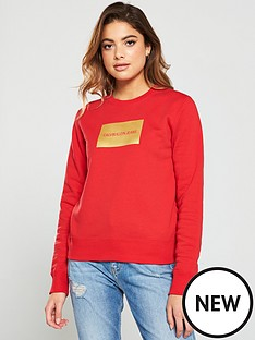 calvin-klein-jeans-institutional-gold-box-logo-sweater-red