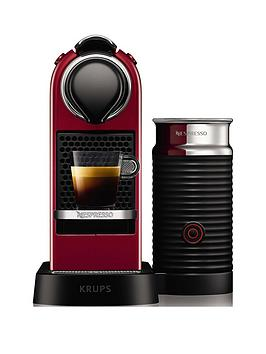 Nespresso   By Krups Citiz &Amp; Milk Xn761540 Pod Coffee Machine - Cherry Red