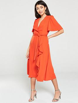 V by Very V By Very Vienna Wrap Frill Midi Dress - Orange Picture