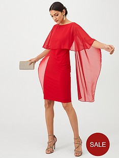 gina-bacconi-cape-sleeve-dress-red