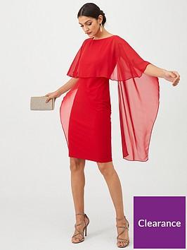 gina-bacconi-cape-sleeve-dress-red