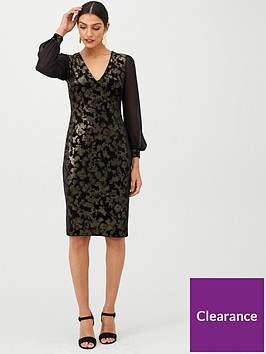 gina-bacconi-jacquard-chiffon-sleeve-velvet-dress-black