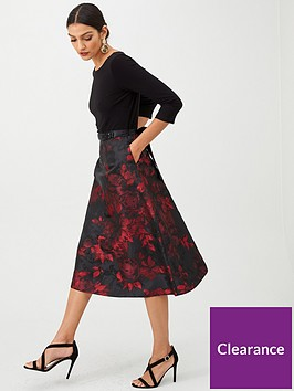 gina-bacconi-floral-full-skirt-dress-red
