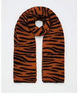V by Very V By Very Fluffy Tiger Print Scarf Picture