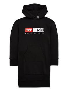 diesel-girls-logo-hooded-sweat-dress-black