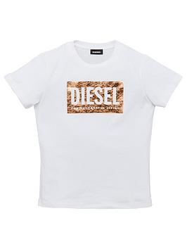 diesel-girls-short-sleeve-metallic-logo-t-shirt-white
