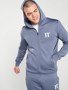 11-degrees-core-poly-zip-through-hoodie-twister-grey